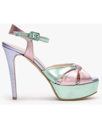Daniel Alaska Multicoloured Metallic Leather Platform Heeled Sandals