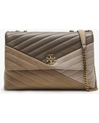 Tory Burch Kira Chevron Light Taupe Leather & Suede Shoulder Bag - Brown