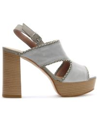Donna Più - Grey Suede Platform Sandals - Lyst