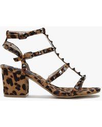 Moda In Pelle Mima Leopard Studded Block Heel Sandals - Multicolour