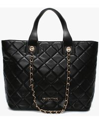 Valentino By Mario Valentino Ocarina Black Quilted Chain Handle Tote Bag