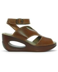 Fly London Hibo Camel Leather Ankle Strap Wedge Sandals - Brown