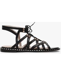 Daniel Invie Black Leather Studded Gladiator Sandals