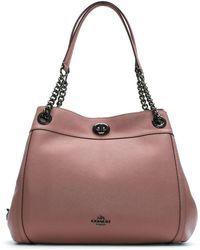 COACH - Turnlock Edie Dusty Rose Polished Pebbled Leather Shoulder Bag - Lyst