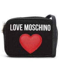Love Moschino - Emily Black Canvas Logo Heart Camera Bag - Lyst