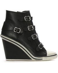 Ash - Thelma Black Leather Hi-Top Wedge Trainer - Lyst