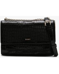 DKNY Bryant Croco Black Leather Cross-body Bag Accessories: One-