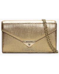 Michael Kors Grace Pale Gold Leather Envelope Clutch Bag - Metallic