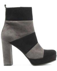 Kennel & Schmenger - Striped Black & Grey Suede Platform Ankle Boot - Lyst