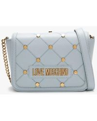 Love Moschino Mini Studded Quilted Blue Cross-body Bag