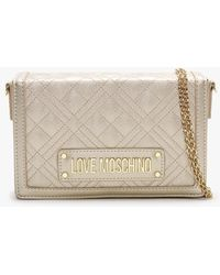 Love Moschino Quilted Studded Logo Gold Clutch Bag - Multicolour