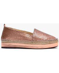 Carmen Saiz Gold Metallic Reptile Leather Espadrilles