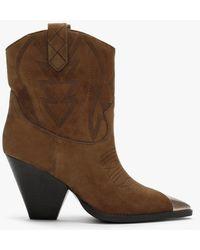 Lola Cruz Alvarado Tan Suede Western Ankle Boots - Brown