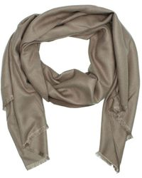 Daniel - Luxe Silk Mix Taupe Scarf - Lyst