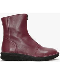 Manas Burgundy Leather Zip Front Ankle Boots - Purple