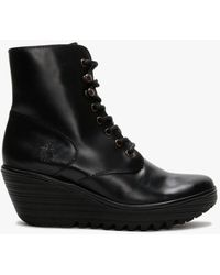 Fly London Ygot Black Leather Wedge Ankle Boots