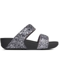 Fitflop - Glitterball Pewter Slide Sandals - Lyst