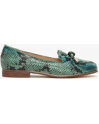 Moda In Pelle Snake Print Leather 'eadlist' Ballet Court Shoes - Green