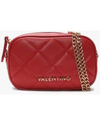 Valentino By Mario Valentino Ocarina Red Quilted Chain Strap Belt Bag