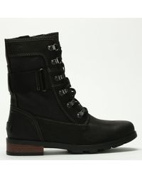 Sorel Emelie Conquest Black Leather & Coated Canvas Ankle Boots