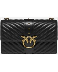 Pinko Love Classic Icon V Quilted Shoulder Bag - Black
