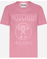 Moschino T-shirt Double Question in cotone - Rosa