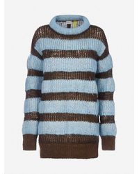 2 Moncler 1952 Pull oversize a righe in mohair - Blu