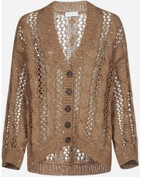 Brunello Cucinelli Cable-knit And Mesh Cotton, Linen And Silk Cardigan - Brown