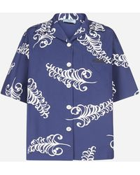 Prada Oversized Printed Shirt - Blue