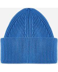 Laneus Wool And Angora Beanie - Blue