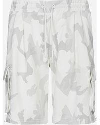 Dolce & Gabbana Camouflage Print Cotton Cargo Shorts - White