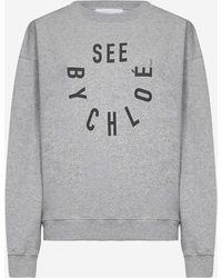 See By Chloé Felpa in cotone con logo - Grigio