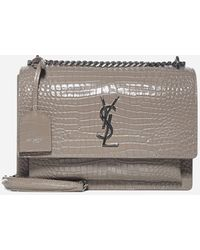 Saint Laurent Ysl Logo Crocodile-effect Leather Bag - Gray