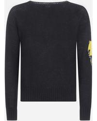 Prada Lightning-intarsia Sleeve Wool Sweater - Black