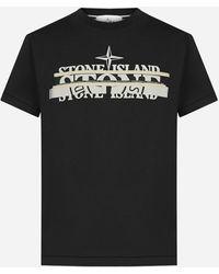 Stone Island T-shirt in cotone con stampa-logo - Nero
