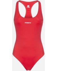 Vetements Logo Racerback Swimsuit - Red