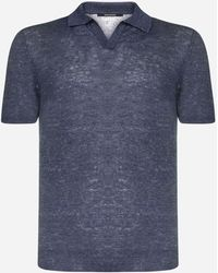 Tagliatore Linen Knit Polo Shirt - Blue