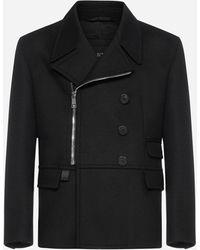 Neil Barrett Zip-up Wool-blend Pea Coat - Black