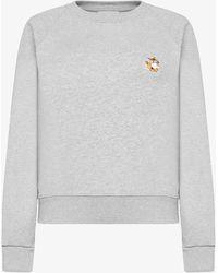 Maison Kitsuné Felpa in cotone con patch All Right Fox - Grigio