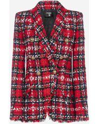 Balmain Tartan Tweed Oversized Jacket - Red