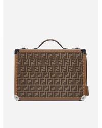 Fendi Leather And Canvas Ff Logo Travel Suitcase - Brown