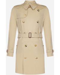 Burberry Kensington Cotton Mid-length Trench Coat - Natural