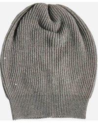 Brunello Cucinelli Berretto in cashmere e lana con paillettes - Grigio