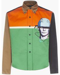 Prada Camicia in cotone color-block stampa Visage - Verde