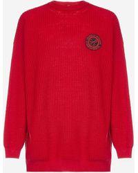 Raf Simons Pull oversize in lana con badge-logo - Rosso