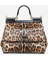 Dolce & Gabbana Sicily Leopard Print Ponyskin Tote Bag - Multicolor