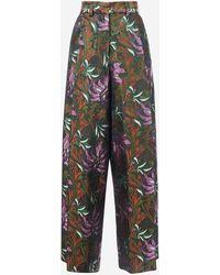 Dries Van Noten Pantaloni Podium in jacquard floreale - Multicolore