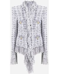 Balmain Draped Hem Fringe Tweed Jacket - Multicolor