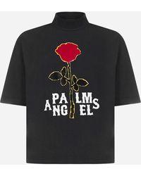 Palm Angels Rose Logo Cotton T-shirt - Black