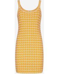 Fendi Ff Motif Viscose Blend Dress - Yellow